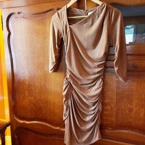 Kardashians Bebe Brown Suede-Like Gathered Dress